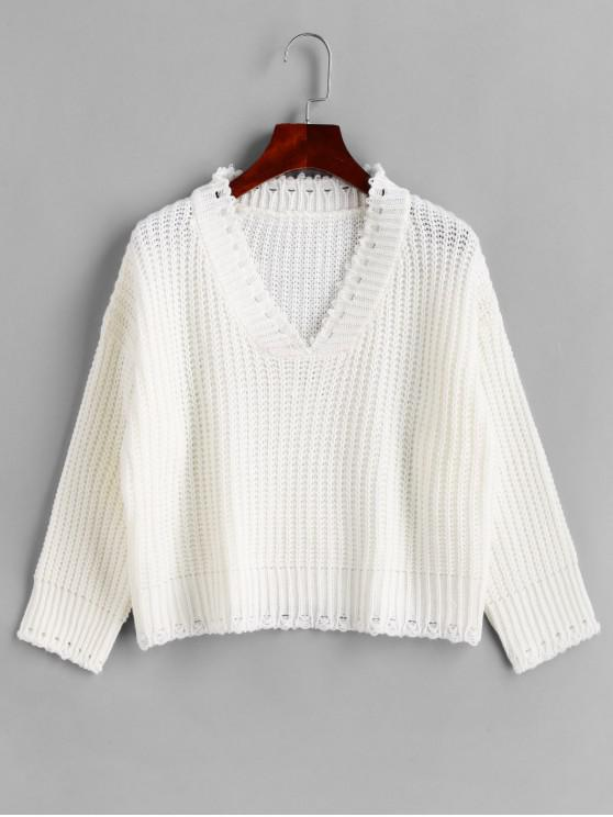 women's Drop Shoulder Ripped V Neck Pullover Sweater - WHITE ONE SIZE