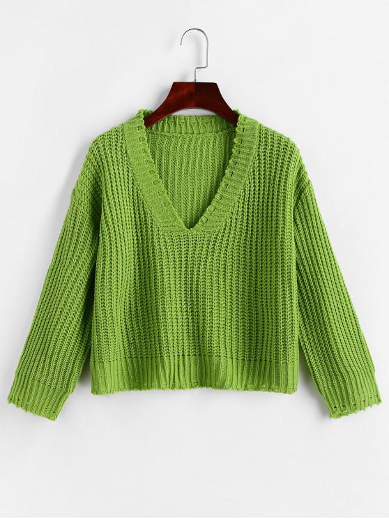 ladies Drop Shoulder Ripped V Neck Pullover Sweater - GREEN ONE SIZE