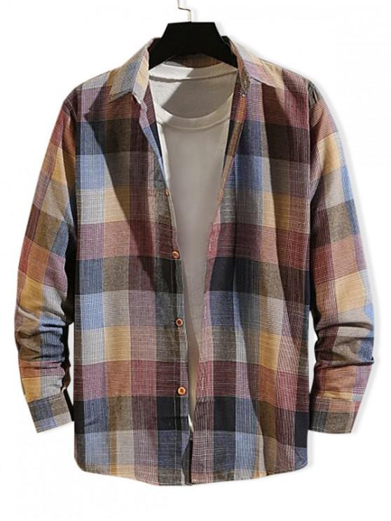new Checkered Print Long Sleeve Button Slim Fit Shirt - MULTI-A XL