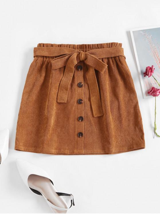 outfits ZAFUL Mock Button Belted Corduroy Paperbag Skirt - TIGER ORANGE S