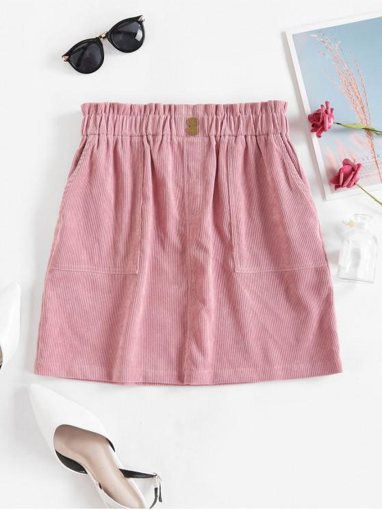 fashion ZAFUL Buttons Solid Corduroy Paperbag Skirt - LIPSTICK PINK L