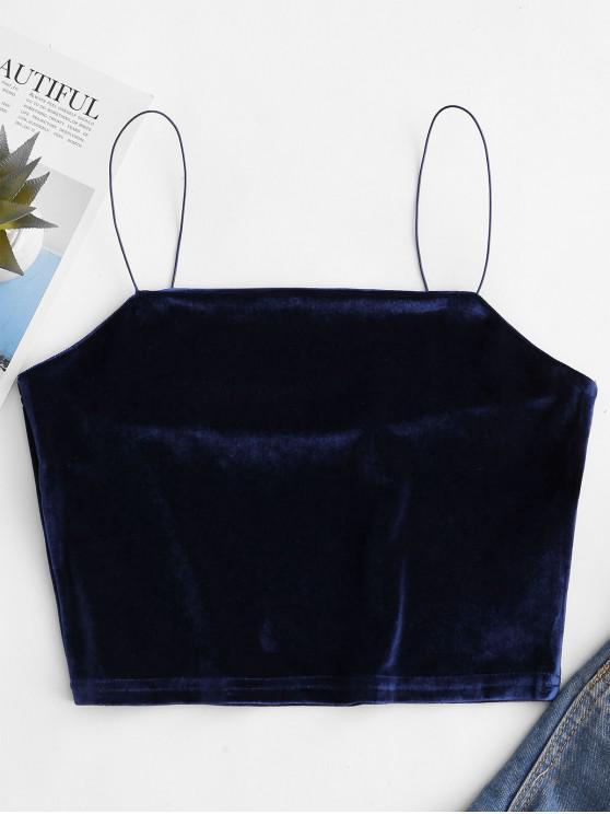affordable Velvet Crop Plain Camisole - CADETBLUE L