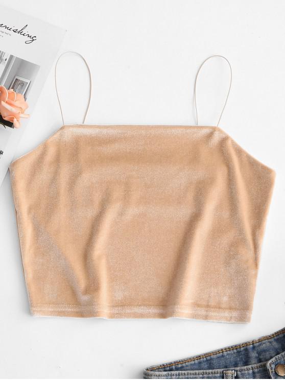 Cultivos de terciopelo liso de la camiseta - Blanco Almendra M