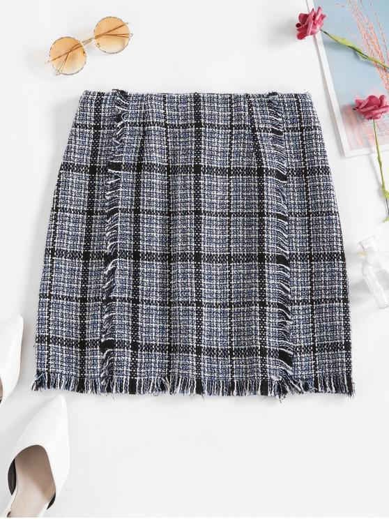 women ZAFUL Plaid Frayed Hem A Line Skirt - OCEAN BLUE L