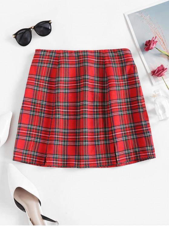 fashion ZAFUL Plaid Slits Mini A Line Skirt - RED L