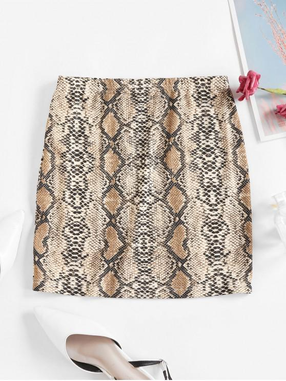 latest ZAFUL Snakeskin Print High Waist Sheath Skirt - MULTI-A XL