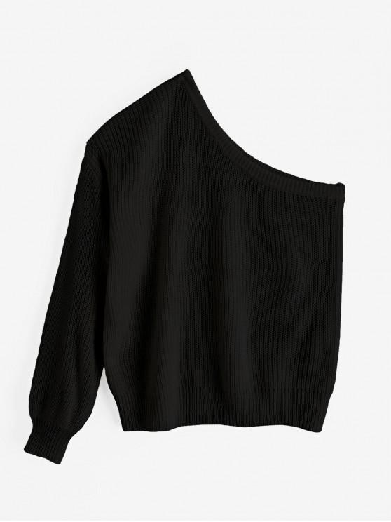 women's ZAFUL One Shoulder Lantern Sleeves Solid Sweater - BLACK ONE SIZE