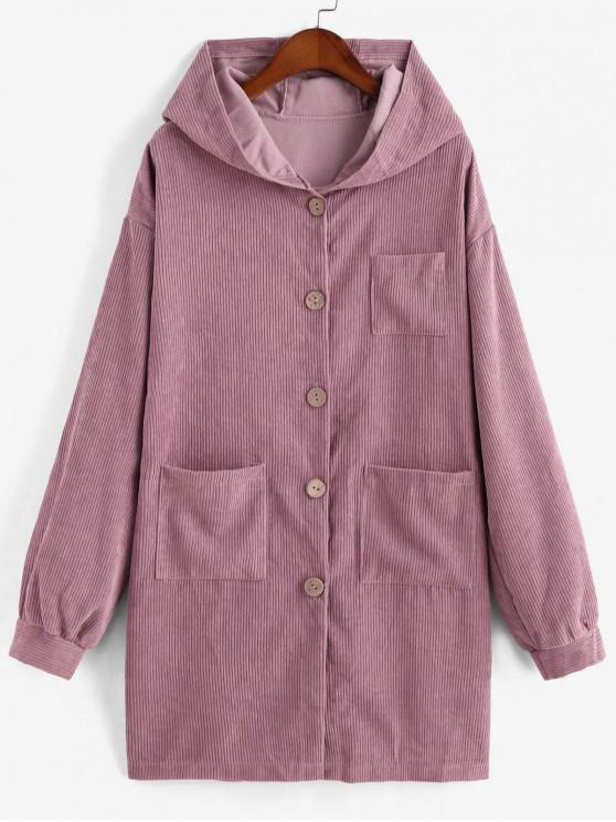 shops Pockets Button Up Hooded Corduroy Coat - PINK XL