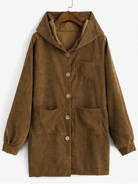lady Pockets Button Up Hooded Corduroy Coat - BROWN M