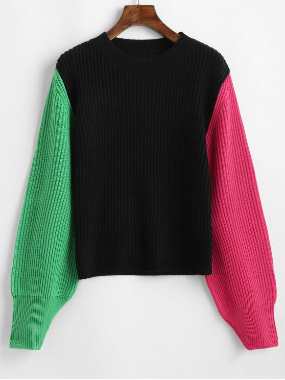 fancy Color-blocking Lantern Sleeve Crew Neck Sweater - BLACK ONE SIZE