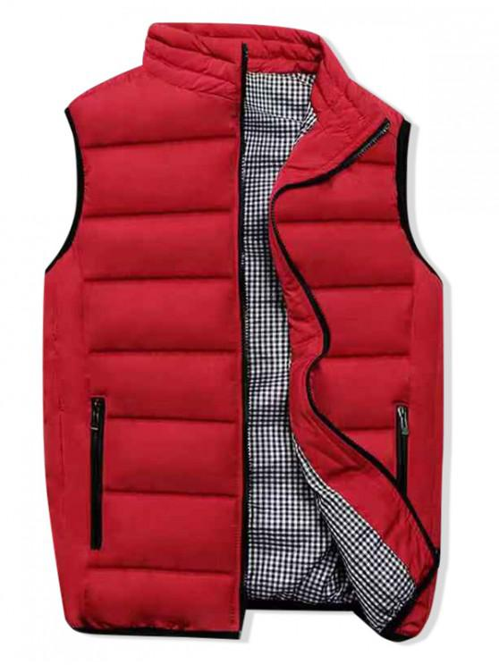 buy Plaid Lined Zip Up Padded Waistcoat - RED XL