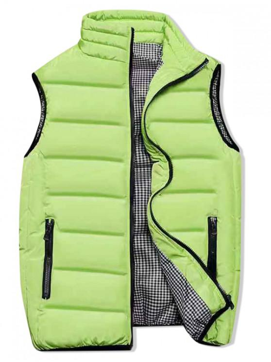 fancy Plaid Lined Zip Up Padded Waistcoat - CHARTREUSE M