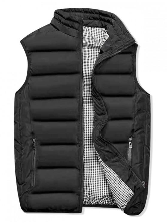 womens Plaid Lined Zip Up Padded Waistcoat - BLACK S