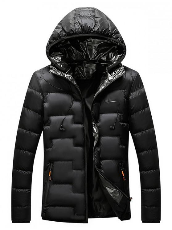 trendy Quilted Hooded Padded Jacket with Earphone - BLACK S