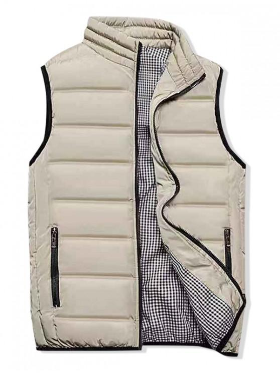 unique Plaid Lined Zip Up Padded Waistcoat - LIGHT KHAKI XL