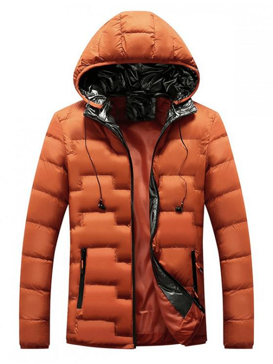 fashion Quilted Hooded Padded Jacket with Earphone - ORANGE M