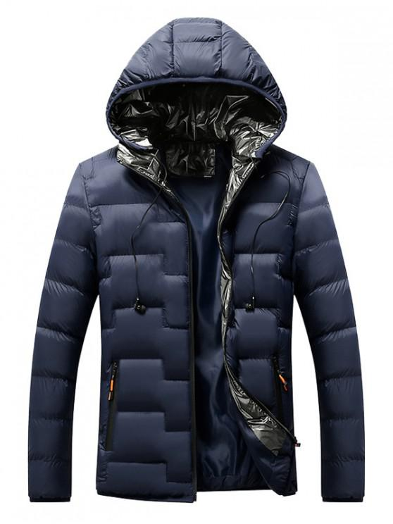 hot Quilted Hooded Padded Jacket with Earphone - DEEP BLUE L