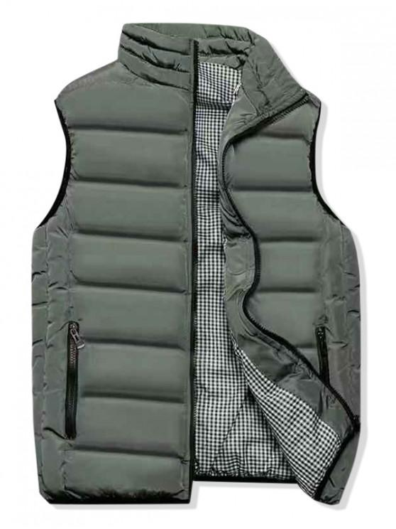 fashion Plaid Lined Zip Up Padded Waistcoat - ARMY GREEN XL
