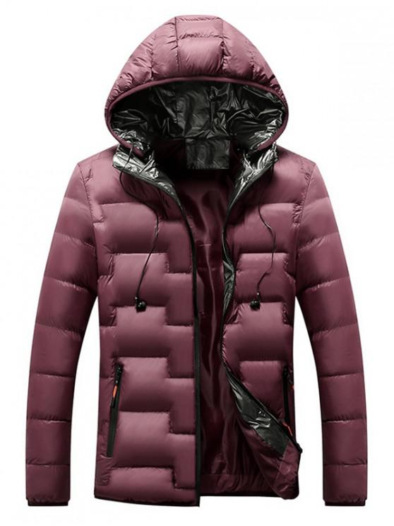 lady Quilted Hooded Padded Jacket with Earphone - RED WINE L