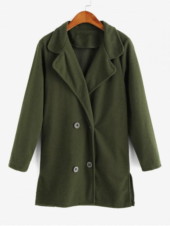 chic Double Breasted Turndown Collar Slit Tunic Coat - ARMY GREEN M