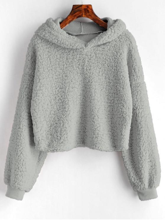Loose Fit Faux Fur Hoodie - Grigio S