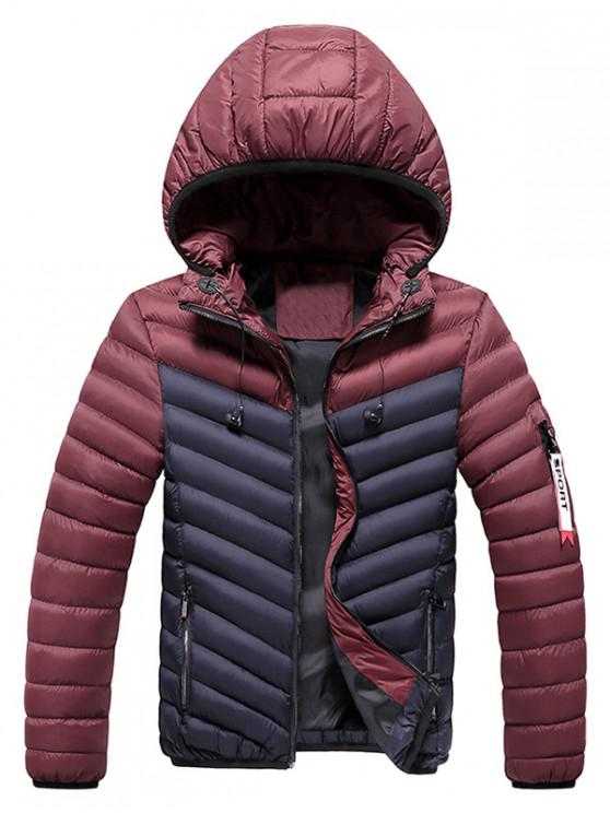 latest Two Tone Hooded Puffer Jacket with Earphone - DEEP BLUE S