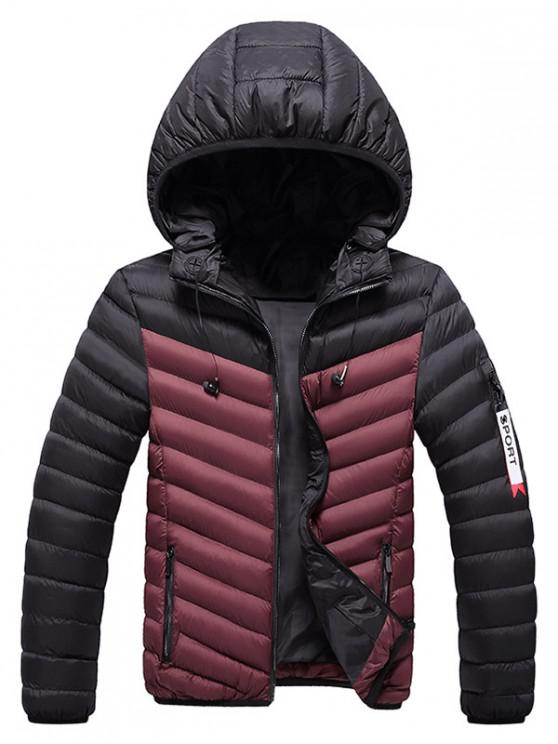 women Two Tone Hooded Puffer Jacket with Earphone - RED WINE XS