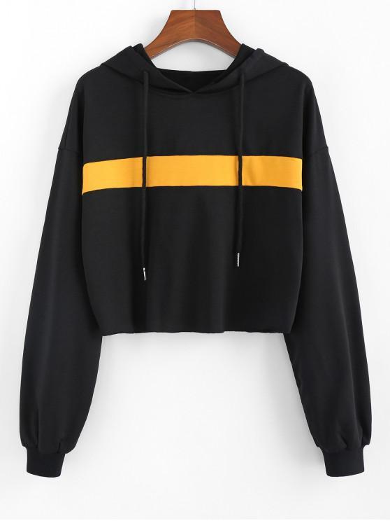 women ZAFUL Colorblock Drop Shoulder Crop Hoodie - BLACK XL