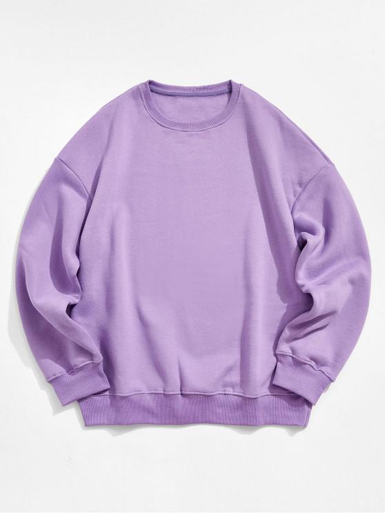 fashion Solid Color Crew Neck Fleece Basic Sweatshirt - PURPLE 2XL