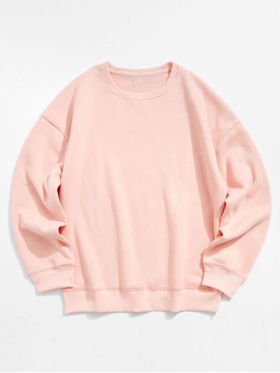 ladies Solid Color Crew Neck Fleece Basic Sweatshirt - PINK L