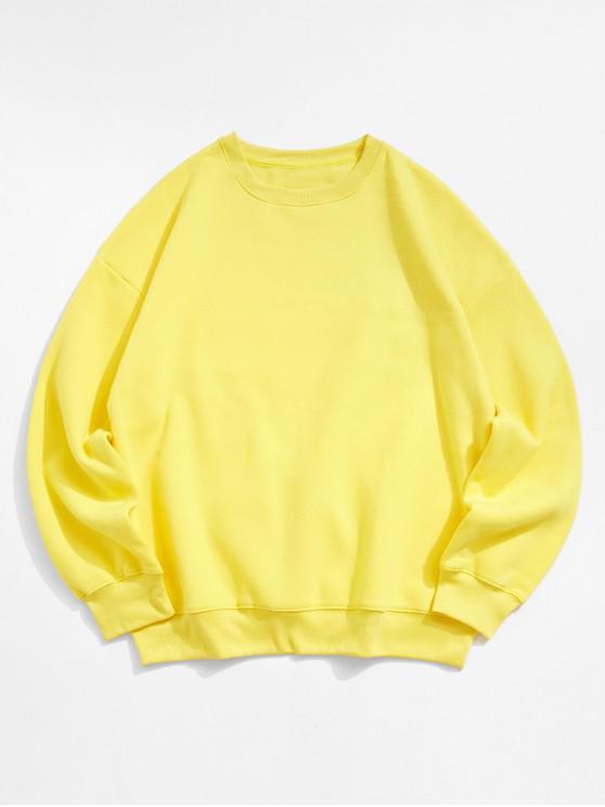 best Solid Color Crew Neck Fleece Basic Sweatshirt - YELLOW M