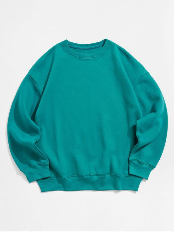 affordable Solid Color Crew Neck Fleece Basic Sweatshirt - GREEN 2XL