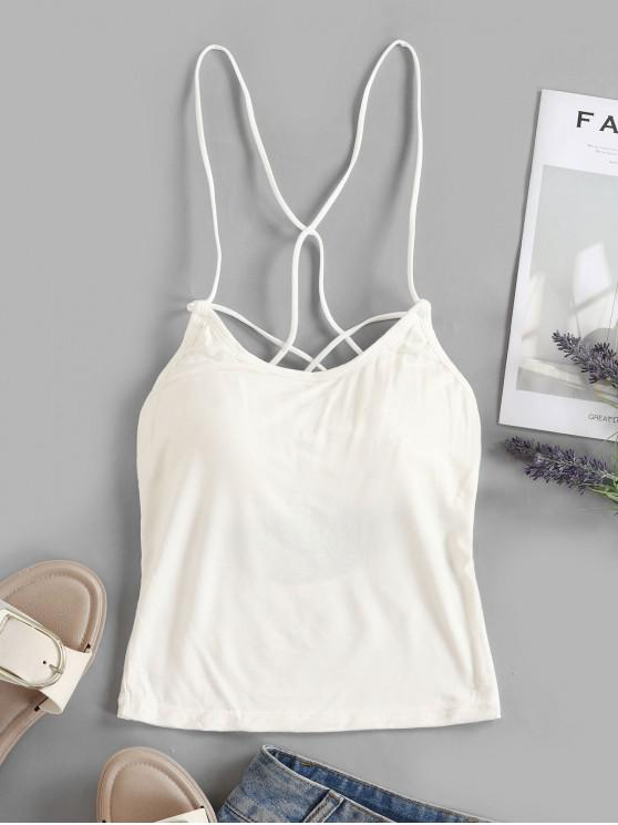 women Strappy Caged Padded Cami Top - WHITE ONE SIZE