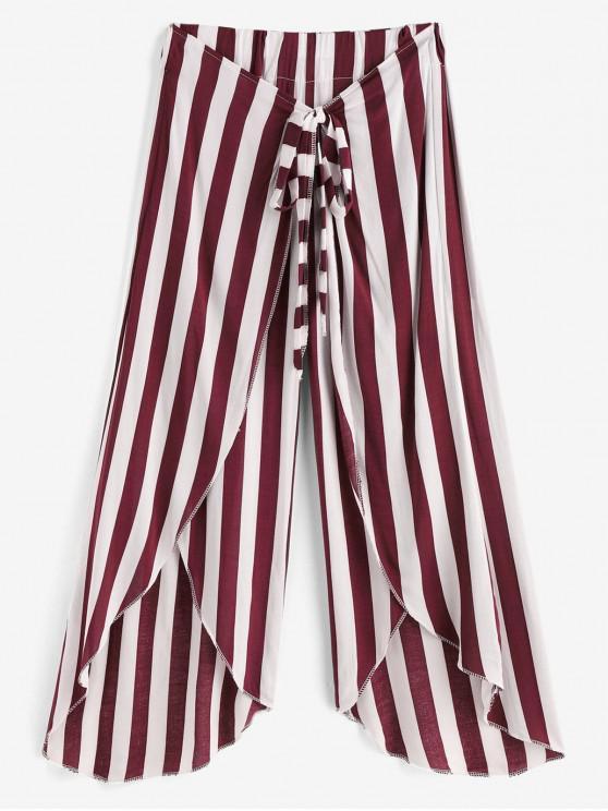 shop Tie Tulip Leg Striped Capri Pants - RED WINE ONE SIZE