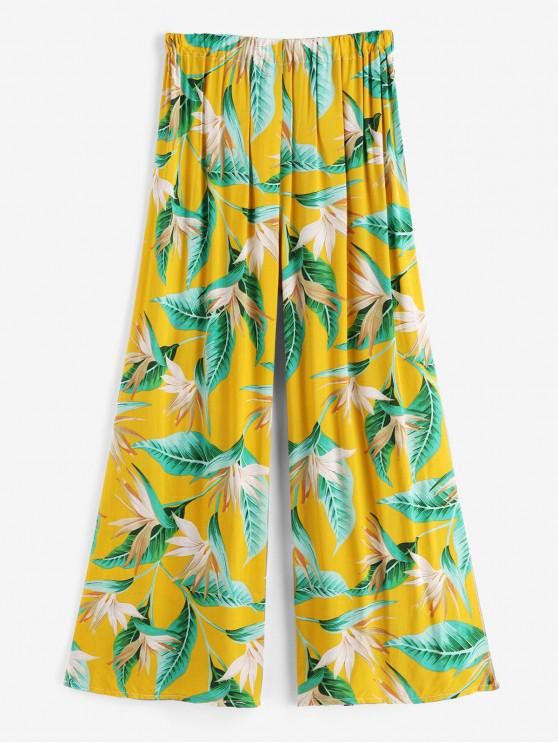 online High Slit Tropical Leaf Print Beach Pants - GOLDEN BROWN ONE SIZE