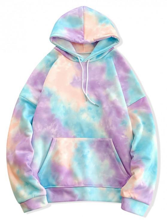 women Tie Dye Pullover Fleece Drawstring Hoodie - BLUE S