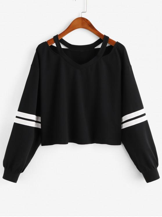 affordable ZAFUL Stripe Cold Shoulder Sweatshirt - MULTI-A S