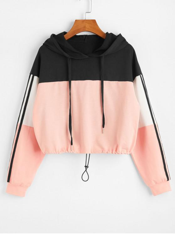 lady ZAFUL Side Striped Colorblock Drawstring Crop Hoodie - MULTI-A S