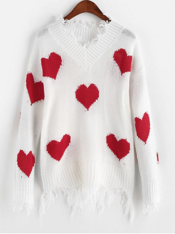 ladies Heart Graphic V Neck Ripped Sweater - RED S