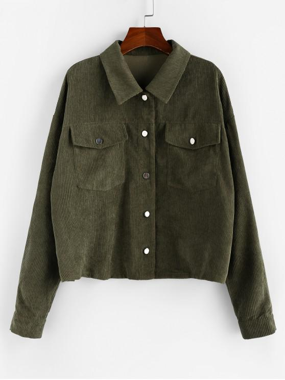 buy ZAFUL Front Pocket Corduroy Jacket - ARMY GREEN S
