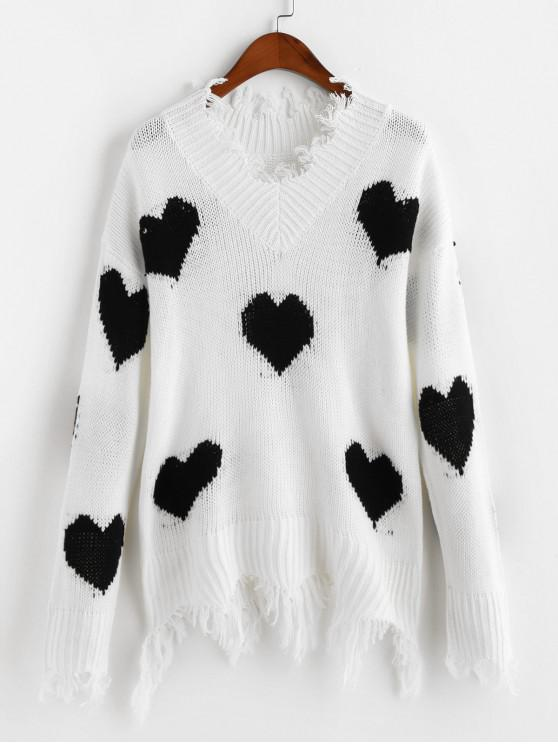 shop Heart Graphic V Neck Ripped Sweater - BLACK XL