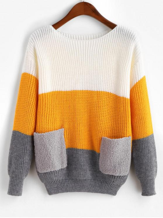 shops Drop Shoulder Colorblock Dual Pocket Sweater - BRIGHT YELLOW ONE SIZE