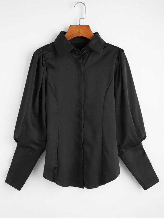 chic Ruched Long Sleeves OL Shirt - BLACK M