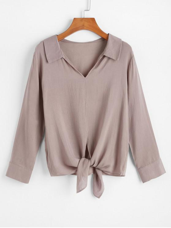 hot Self Tie V Neck Blouse - DARK KHAKI XL