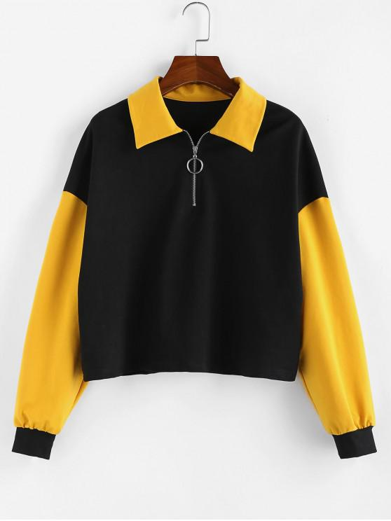 unique ZAFUL Drop Shoulder Colorblock Quarter Zip Sweatshirt - BLACK L