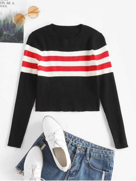 womens Contrast Striped Ribbed Crop Sweater - BLACK L