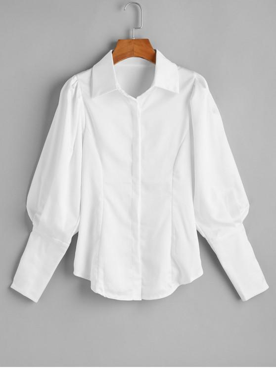 women Ruched Long Sleeves OL Shirt - WHITE M