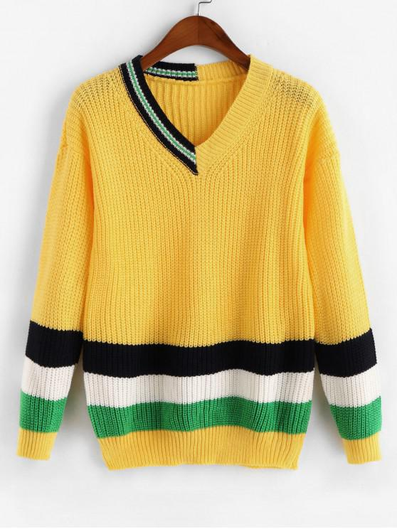 women's Drop Shoulder Colorblock Stripes V Neck Sweater - BRIGHT YELLOW ONE SIZE
