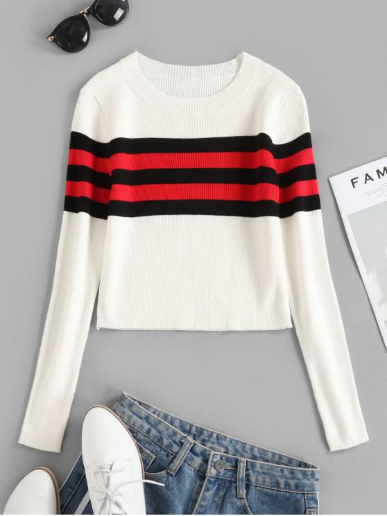 ladies Contrast Striped Ribbed Crop Sweater - WHITE S
