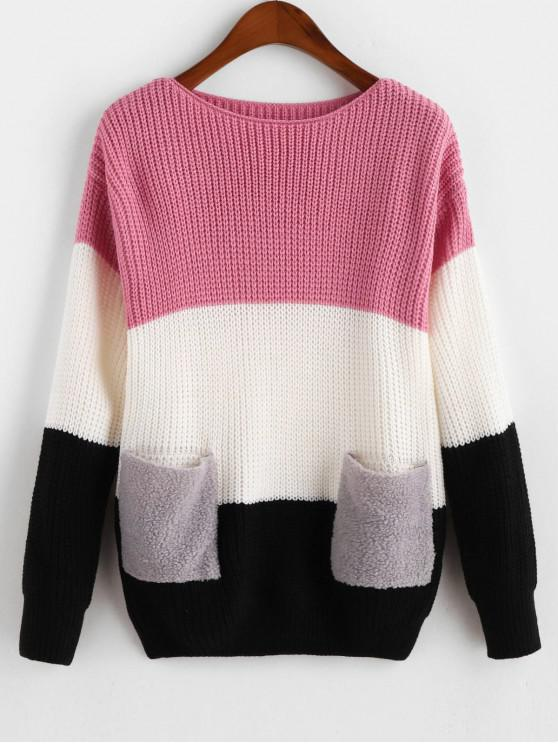 lady Drop Shoulder Colorblock Dual Pocket Sweater - PINK ONE SIZE